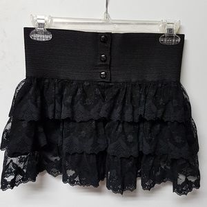 Le Chateau Black Open Front Lace Tiered Mini Skirt